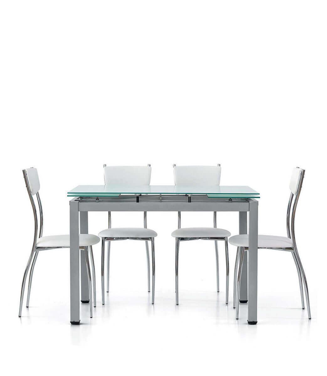Tavolo rettangolare allungabile piano in vetro 6/8 persone 110/170 cm -  Spazio Casa
