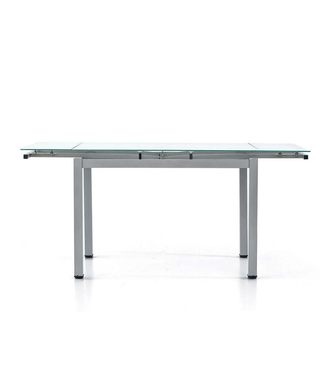 Tavolo Allungabile Acciaio Vetro.Tavolo Rettangolare Allungabile Piano In Vetro 6 8 Persone 110 170 Cm Spazio Casa