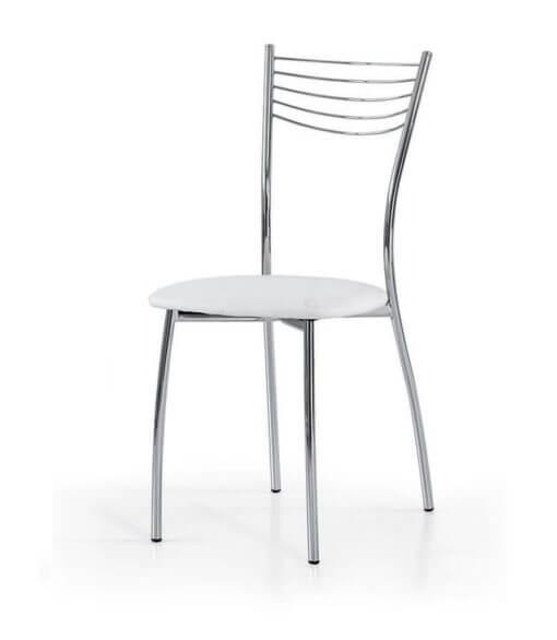 sedia acciaio e seduta ecopelle bianca