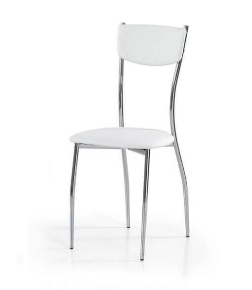 Sedie moderne in acciaio cromato seduta e schienale in ecopelle Spazio Casa