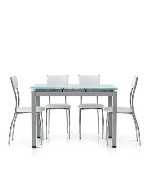 Tavolo con piano in vetro temperato e sedie in coordinato