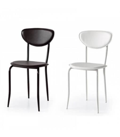 sedia in ecopelle e metallo da cucina moderna