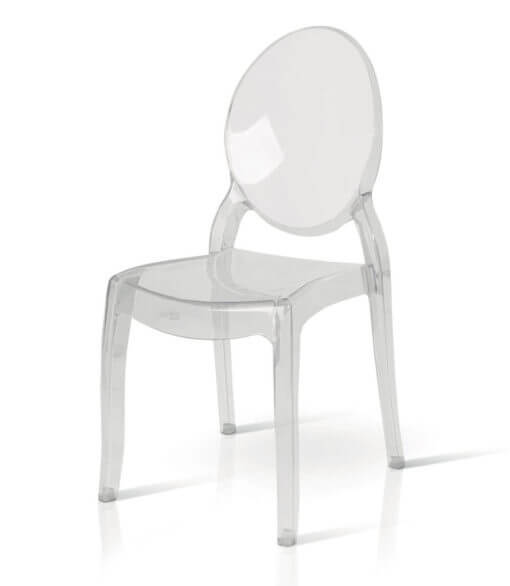 sedia in policarbonato tonda trasparente