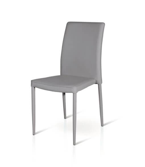 sedia in ecopelle imbottita colore grigio chiaro