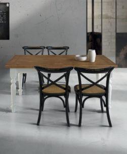 tavolo rettangolare allungabile piano rovere piede tornito