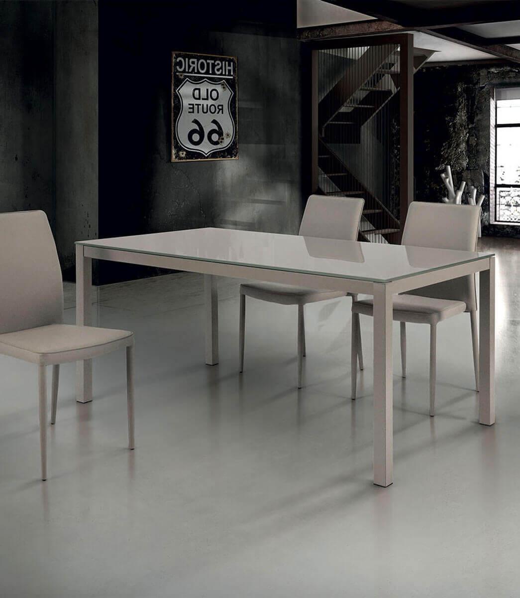 Tavolo rettangolare allungabile in vetro e struttura in metallo tortora -  varie misure - Spazio Casa