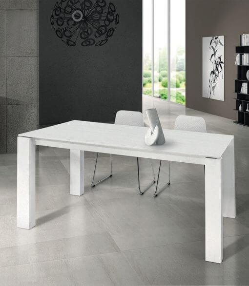 tavolo rettangolare allungabile in legno bianco