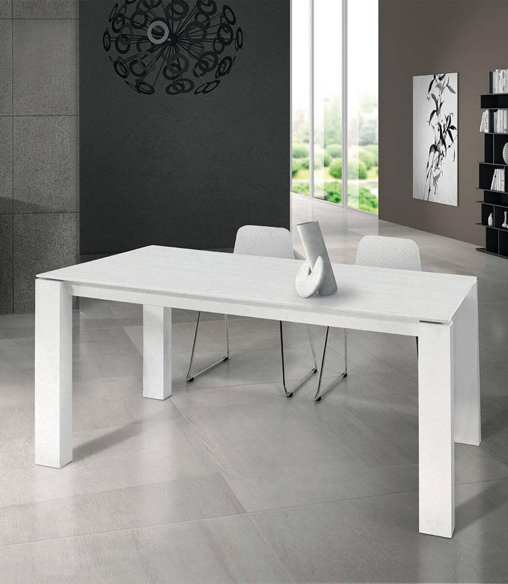 Tavolo rettangolare allungabile in legno bianco frassinato 8/10 persone  160/250 cm - Spazio Casa