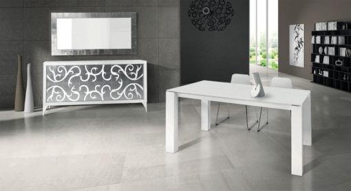 tavolo rettangolare allungabile in legno bianco frassinato