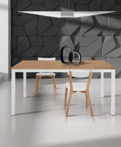 tavolo rettangolare allungabile bianco e rovere