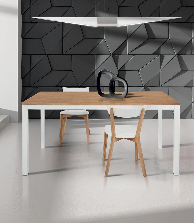 Tavolo Rovere Bianco.Tavolo Rettangolare Allungabile Rovere E Metallo Bianco Varie Misure Spazio Casa