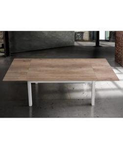 Spazio Casa Tavolo Moderno allungabile con Piano in Legno Rovere Bianco//Naturale 110 x 70