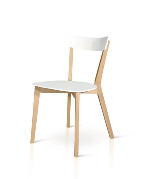 sedia in legno minimal bianca e legno naturale