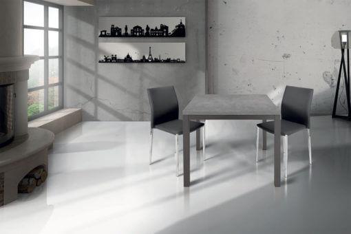 tavolo quadrato allungabile a libro in metallo e legno laminato