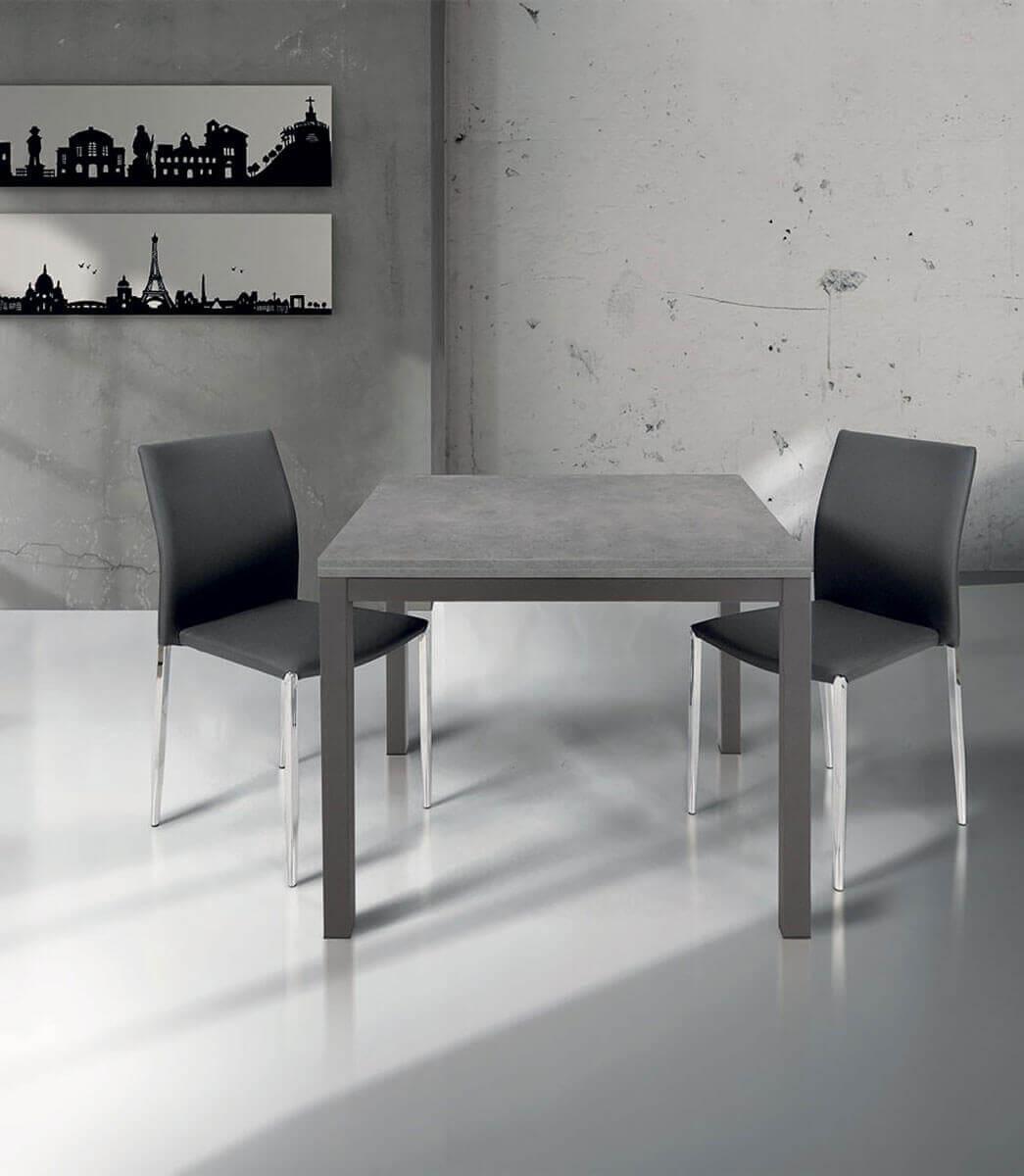 Tavolo quadrato allungabile a libro in legno laminato e metallo 4/8 persone  90/180 cm - Spazio Casa