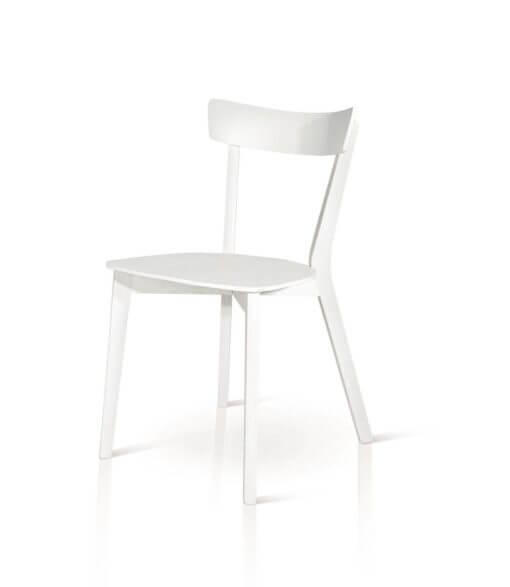sedia in legno minimal bianca