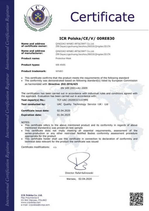 Certificazione mascherina KN95