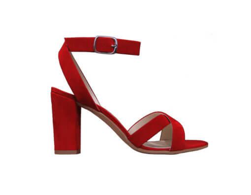 Sandalo rosso tacco alto
