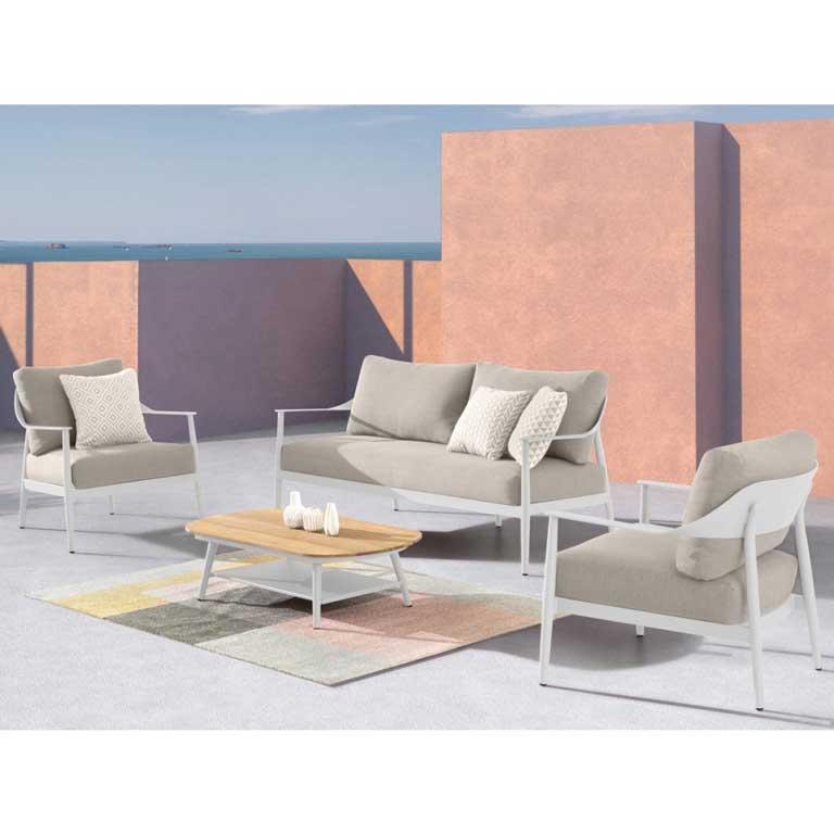 Image of Salotto da Giardino in Alluminio con Divano, Tavolino e 2 Poltrone - Materia