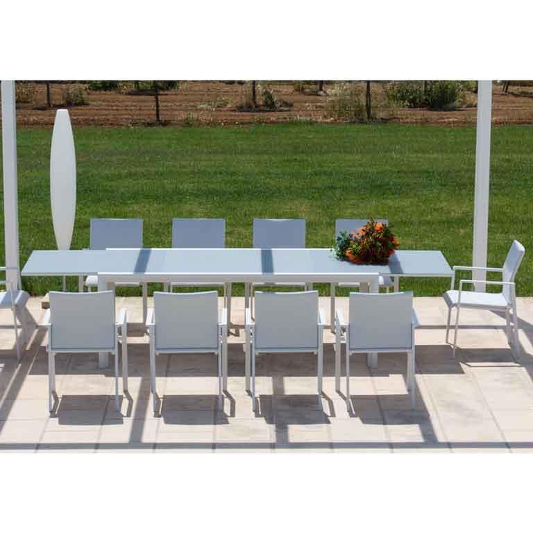 Set 8 Sedie + Tavolo da Giardino Rettangolare Allungabile in Alluminio e Vetro - Breezer