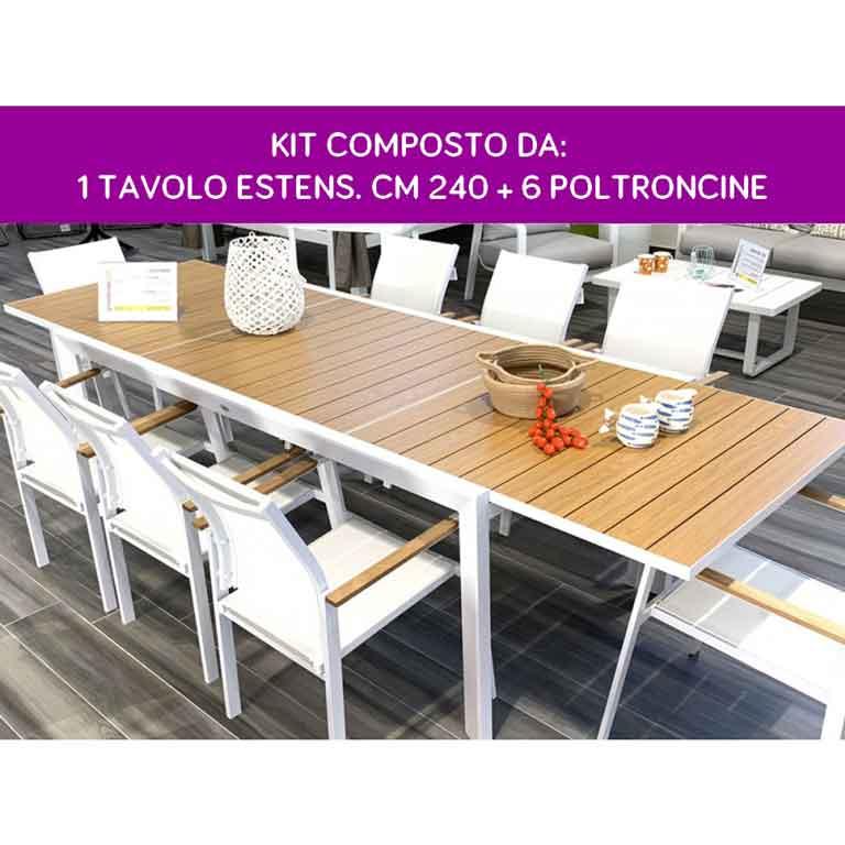 Set Tavolo Rettangolare Allungabile Immenso 240 + 6 Sedie da Giardino
