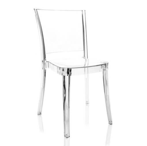 Sedia in policarbonato trasparente neutro