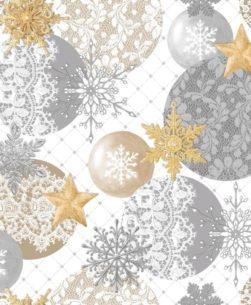 tovaglia natalizia con sfondo bianco e cerchi grigi e oro