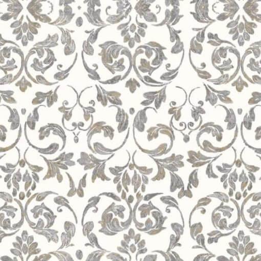 Tovaglia ramage ornamentale grigio e bianco
