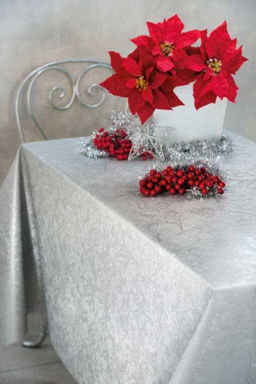 Tovaglia natalizia damascata argento