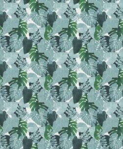 tovaglia al metro fantasia foglie verdi tropicali
