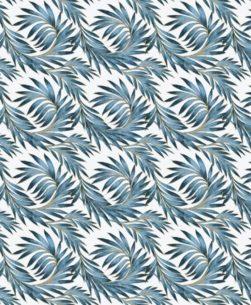 tovaglia al metro fantasia foglie blu