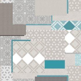 tovaglia al metro con fantasia geometrico labirinto azzurro
