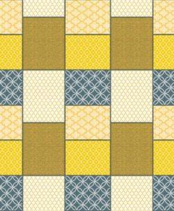 tovaglia al metro fantasia geometrico a quadri giallo