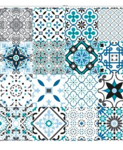 tovaglia al metro fantasia Taormina piastrelle azzurro