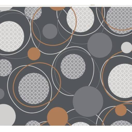 tovaglia al metro cerchi concentrici grigi su sfondo grigio scuro