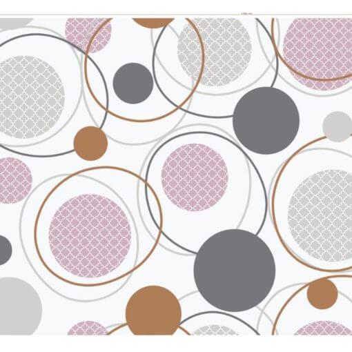 tovaglia al metro con fantasia cerchi concentrici grigi e rosa su sfondo bianco