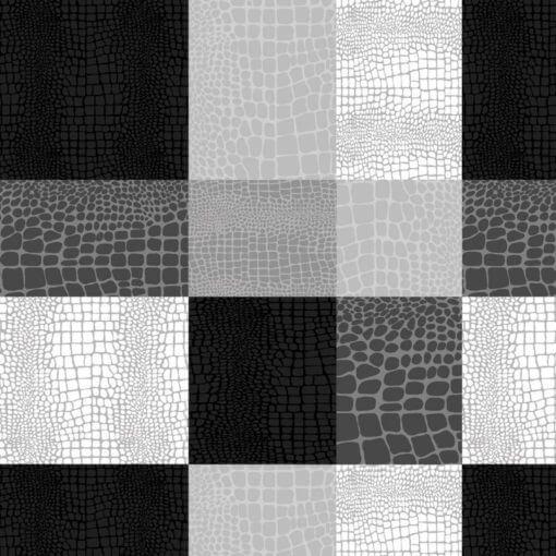tovaglia al metro pitone quadri nero