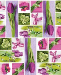 tovaglia rotolo tulipani rosa