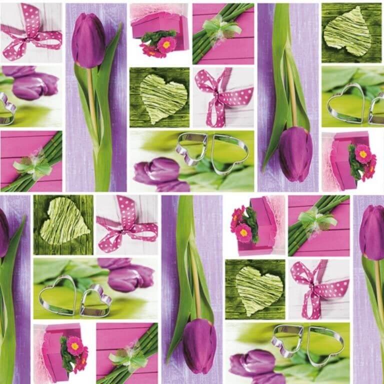 Rotolo Tovaglia in Plastica - Tulipani Rosa - 140 cm x 20 m - Bottigelli