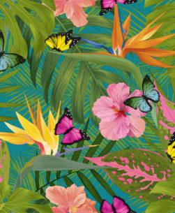 Tovaglia al metro tropicale con farfalle verde